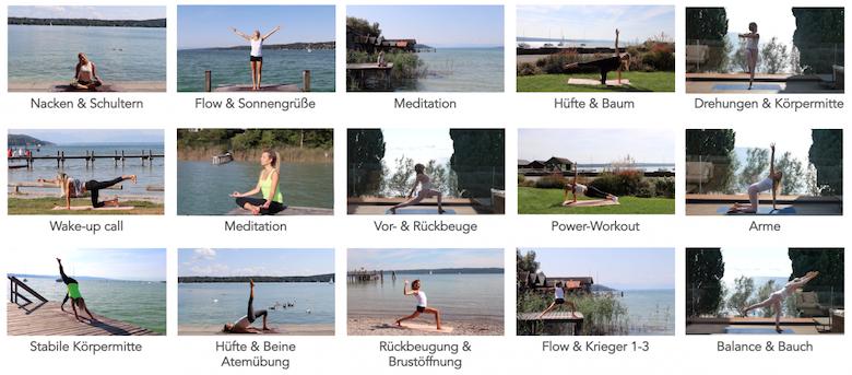 Mein Bewegungskurs besteht aus 16 Videos mit jeweils unterschiedlichen Schwerpunkten. Beispielsweise fokussieren wir uns einmal auf die Schultern & den Nacken, ein andermal auf die Körpermitte oder die Hüfte. Zudem ist von Yoga, Power-Workout, Meditation oder Atemübungen alles dabei. So dauert jedes Video ca. 15-20 Minuten und kann in jeden Alltag integriert werden. Dabei ist es mir wichtig, dass jeder von Beginn mitmachen kann.