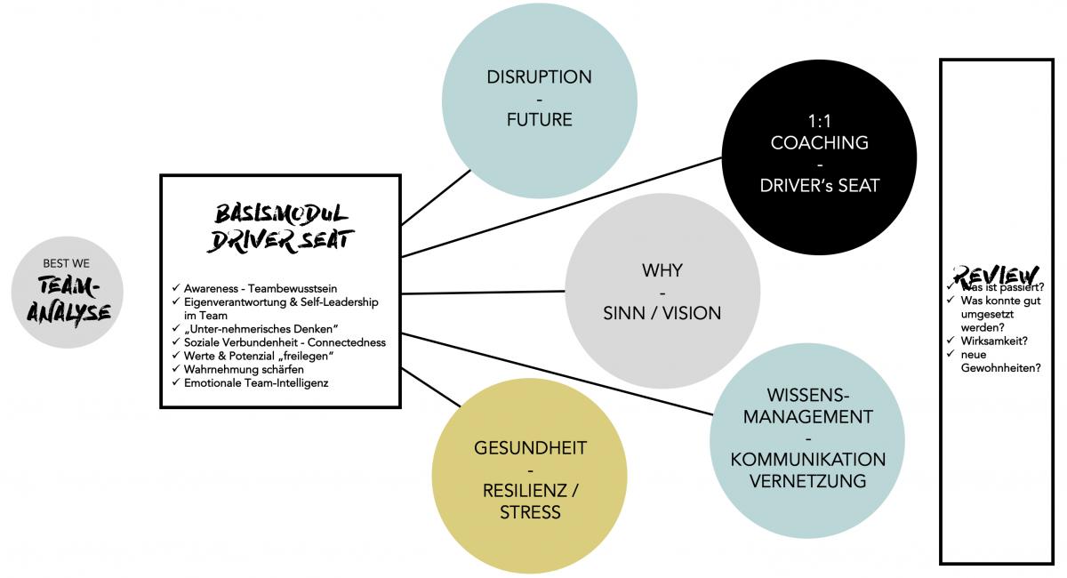 Die drei Phasen des Driver´s Seat Coachings für langfristigen Erfolg und Wirksamkeit.